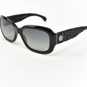CHANEL: Black, Tweed & CC Polarized Sunglasses dn